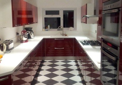 Red Contemporary Kitchen – Uxbridge, London