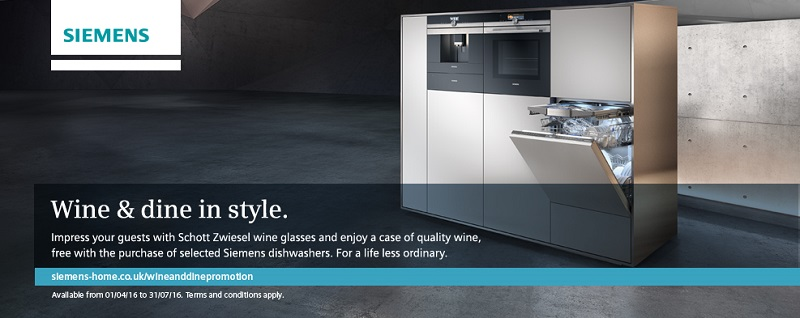 Siemens - Schott Zwiesel Wine Glasses and a case of quality wine with selected Siemens dishwashers