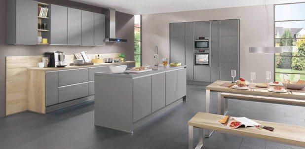 Nobilia Laser 413 Mineral Grey Handle-less kitchen