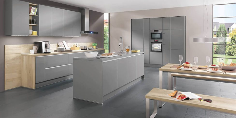 Nobilia Laser 413 Mineral Grey Handle-less kitchen