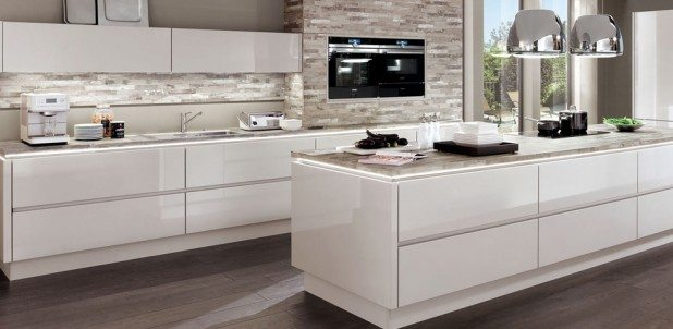 Nobilia Lux 819 satin grey high gloss handle-less kitchen
