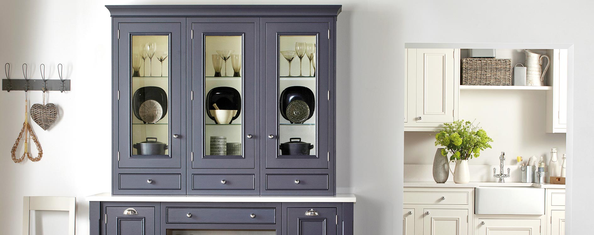 Salcombe Painted Timber English Made Kitchen in Ash-Charcoal-and-Chalk
