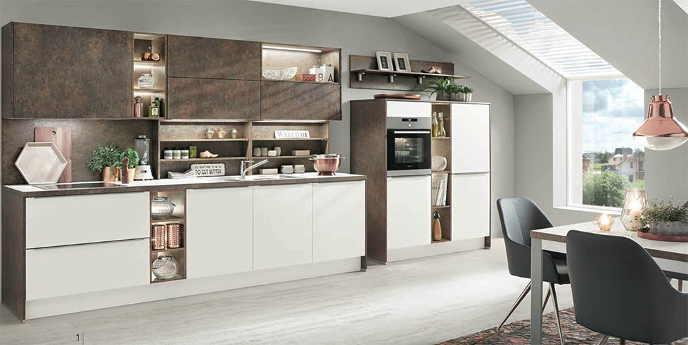 Nobilia Laser Alpine White 427 with Ferro Bronze Decors