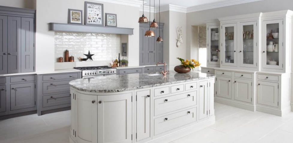 Langston inframe shaker kitchen in Mink and Putty