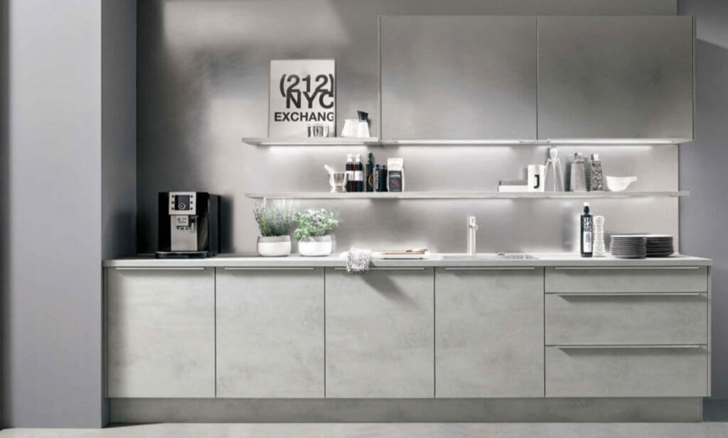Nobilia Rova 892 Concrete Grey and CC137 Scratched Steel