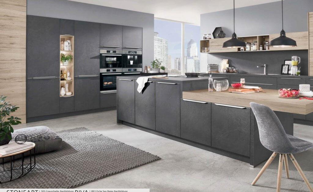 Nobilia StoneArt Slate Grey and Sanremo Oak German kitchen
